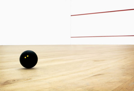 Squash court with double dot ball (vignette effect)